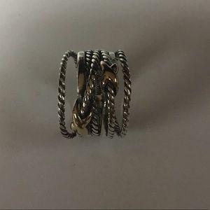 David yurman sterling & 18k double x ring size 6.5